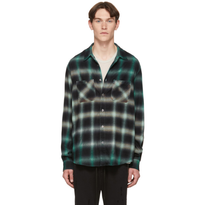 Amiri Distressed Checked Cotton-Blend Flannel Shirt In Lt. Blue