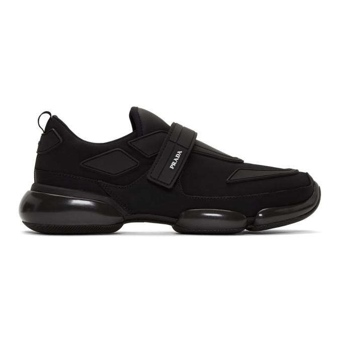 Prada 'cloudbust' Textile Hook-and-loop Strap Panelled Neoprene Sneakers In F0002 Nero