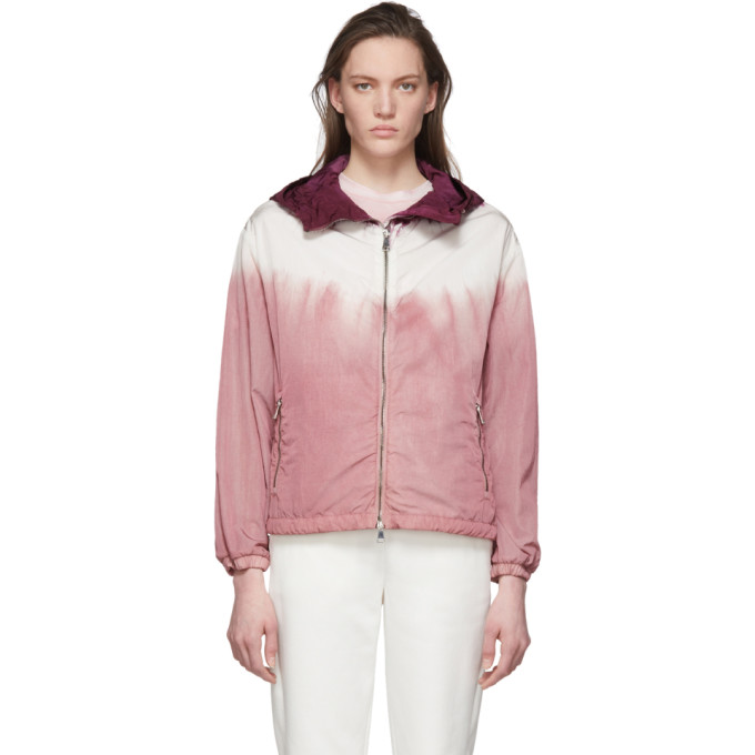 Moncler Tie-dyed Hooded Nylon Jacket In 510 Pink