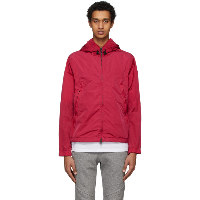Moncler Logo-embroidered Grosgrain-trimmed Shell Jacket In 562 Red