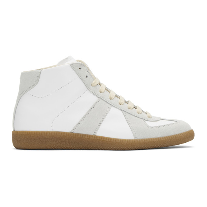 Maison Margiela Replica High-top Leather Lace-up Sneakers In 101 White