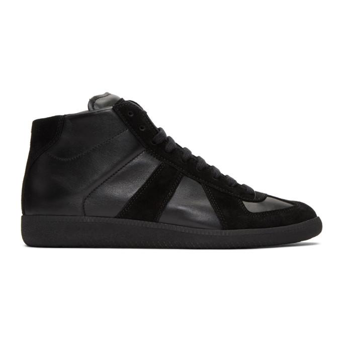 Maison Margiela Men's Replica Leather High-top Sneakers In 900 Black