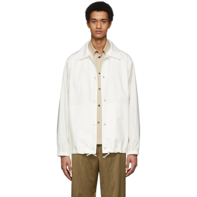 Jil Sander Essential Outdo Casual Jacket In White Cotton In 104 Natural