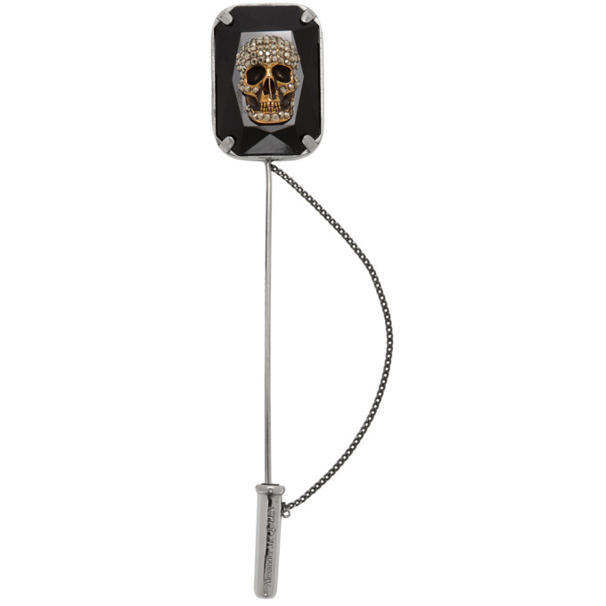 Alexander Mcqueen Silver Jeweled Skull Pin In 5080 Cryst