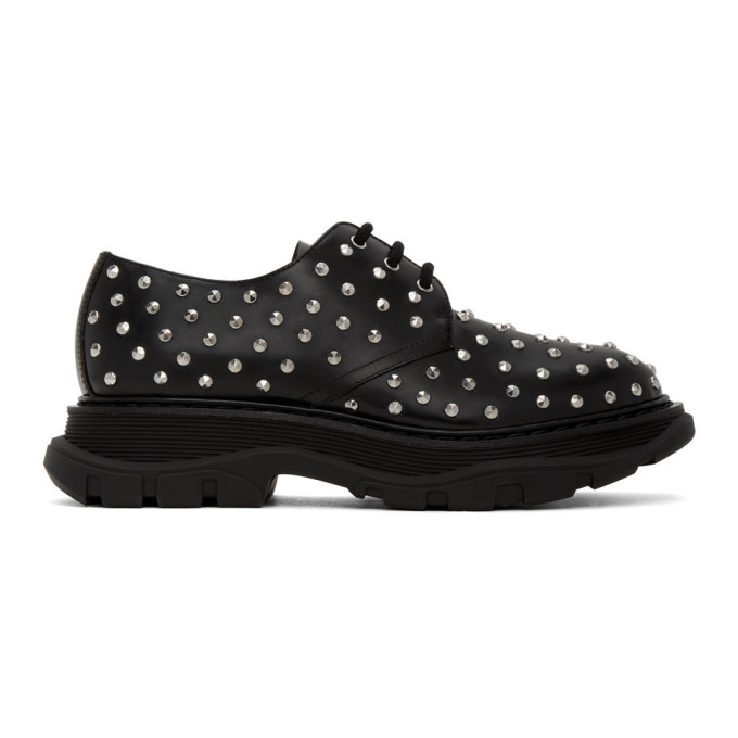 Alexander Mcqueen Tread Studded Leather Derby Shoes In 1081 Blkslv