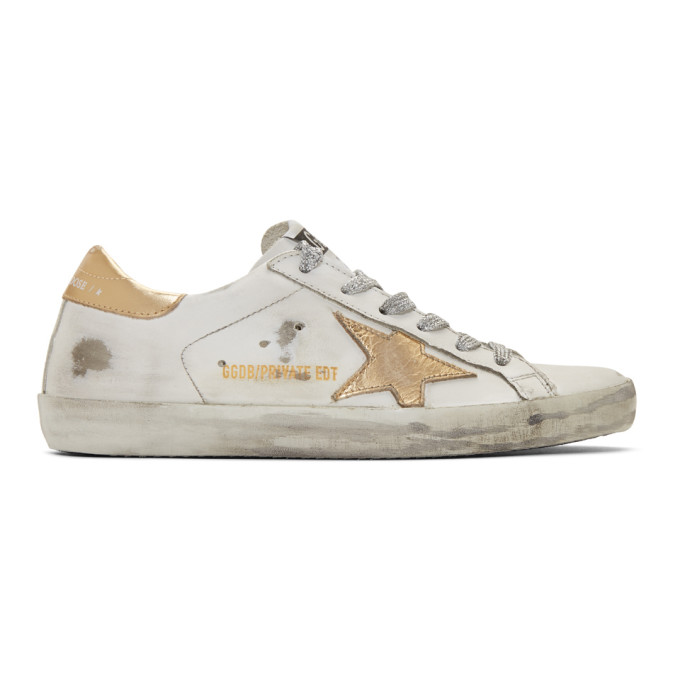 Golden Goose Sneakers Hi Star White Leather-gold Star-logo Lace In Silver