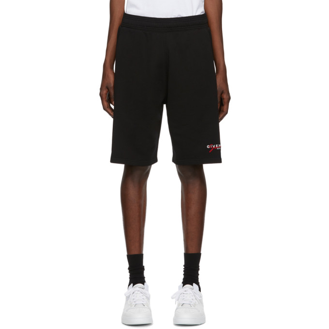 Givenchy Men's Signature Sweat Shorts In Black/red