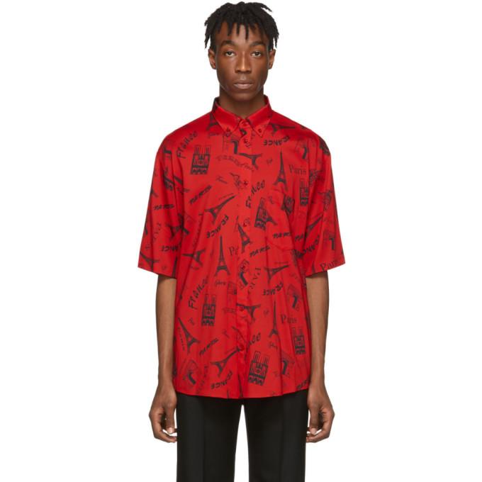Balenciaga Monument-print Cotton Short-sleeve Shirt In 6400 Red