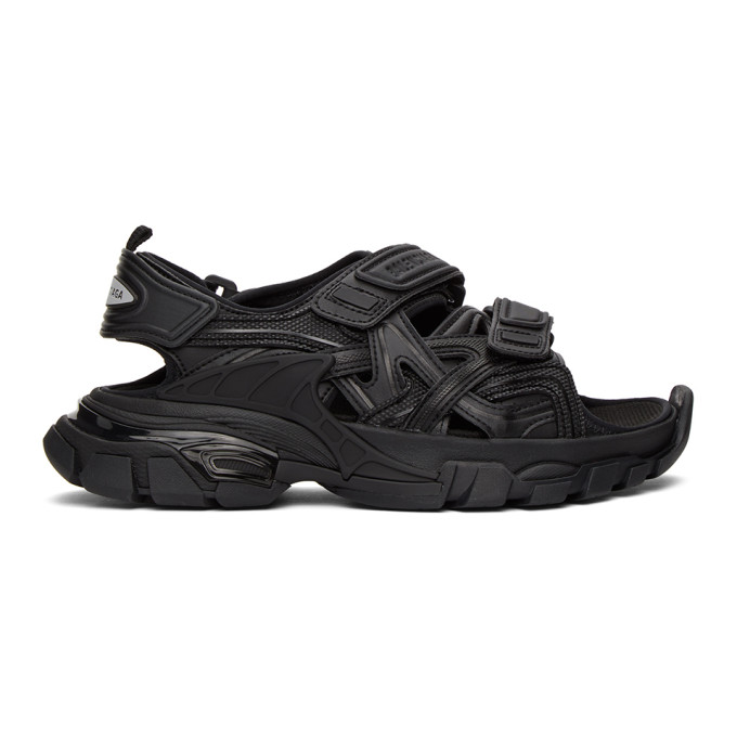 Balenciaga Track Velcro-strap Faux-leather And Rubber Sandals In 1000 Black