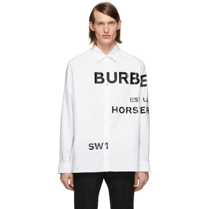 Burberry Horseferry Print Cotton Oxford Oversized Shirt Topham White