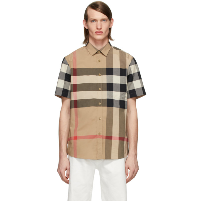 Burberry Somerton Checked Regular-fit Stretch-cotton Shirt In 110124camel