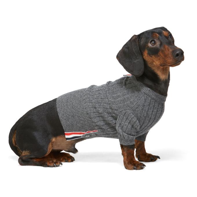 Thom Browne Grey Cashmere Rib Knit 4-bar Sweater In 035 Grey