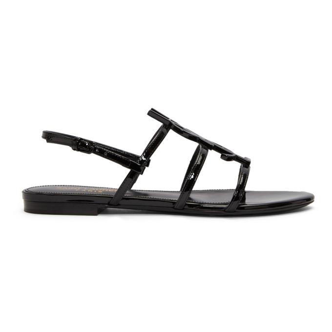 Saint Laurent Black Patent Cassandra Open Sandals In 1000 Black
