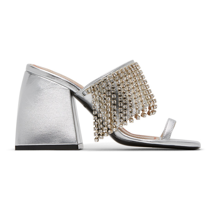 Nodaleto Sliver Bulla Preston Crystal Sandals In Silver Rain