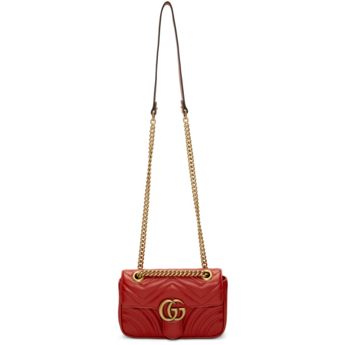 Gucci Mini Gg Marmont 2.0 Leather Shoulder Bag In 6433 Red