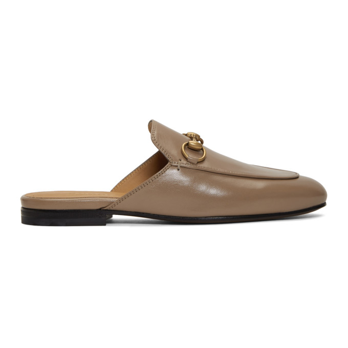 Gucci Princetown Leather Backless Loafers In Brown