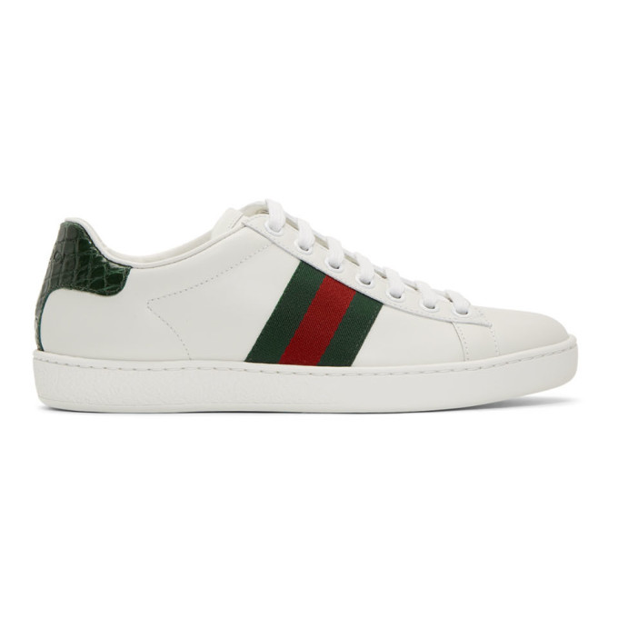 Gucci Women's New Ace Leather Sneakers With Web Detail In White