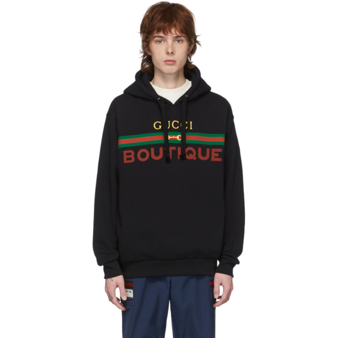 Gucci Logo-print Loopback Cotton-jersey Hoodie In Black/multi