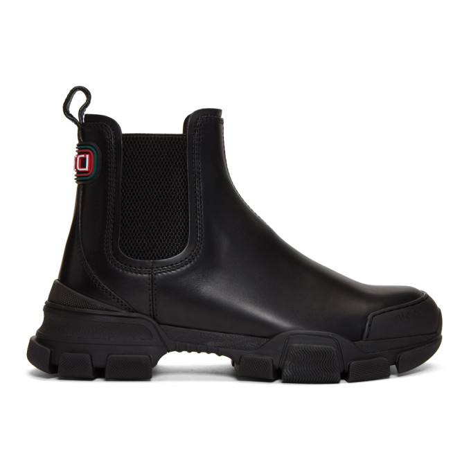 Gucci Leon Exaggerated-sole Leather Chelsea Boots In Black