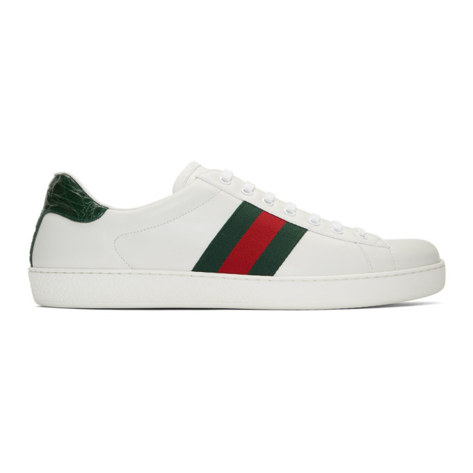 Gucci White & Green Ace Sneakers In 9071 White