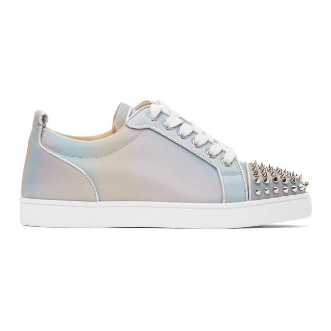 Christian Louboutin Louis Junior Spikes Orlato Sneakers In Grey In M251 Mulslv