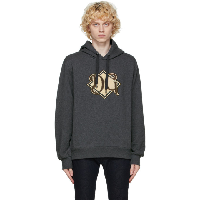 Dolce & Gabbana Dolce And Gabbana Grey Logo Patch Hoodie In S8292 Melan