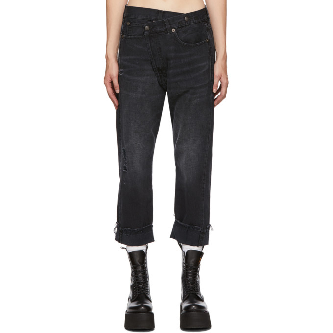 R13 Cross Over Closure Distressed Jeans In Jake Black