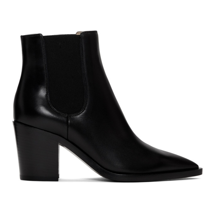 Gianvito Rossi Women's Romney Point-toe Leather Chelsea Boots In Black