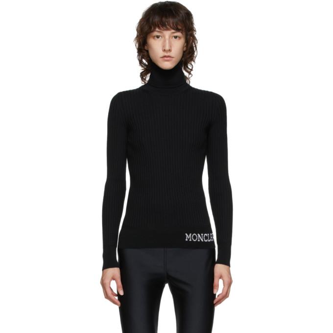 Moncler Logo Intarsia Hem Virgin Wool Rib Knit Turtleneck Sweater In 999 Black