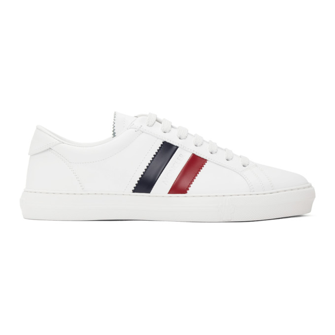 Moncler Men's New Monaco Leather Side Stripe Low-top Sneakers In 002 White