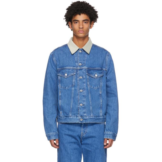 Helmut Lang Contrast Collar Denim Jacket In Blue