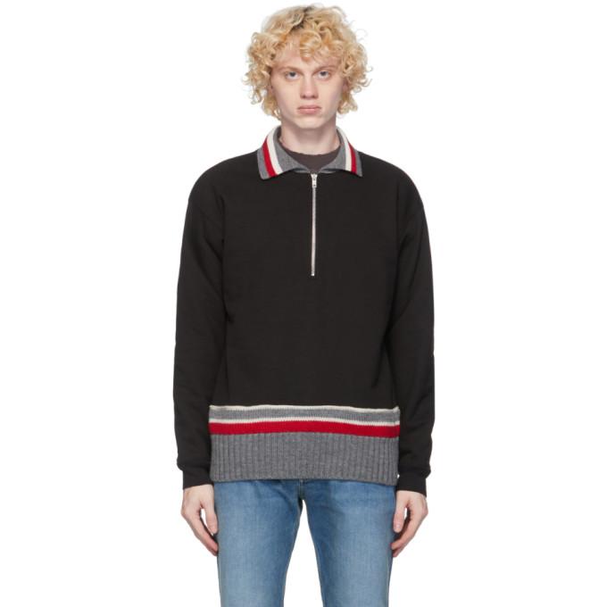 Maison Margiela Half-zipped Cotton Sweater In 900 Black