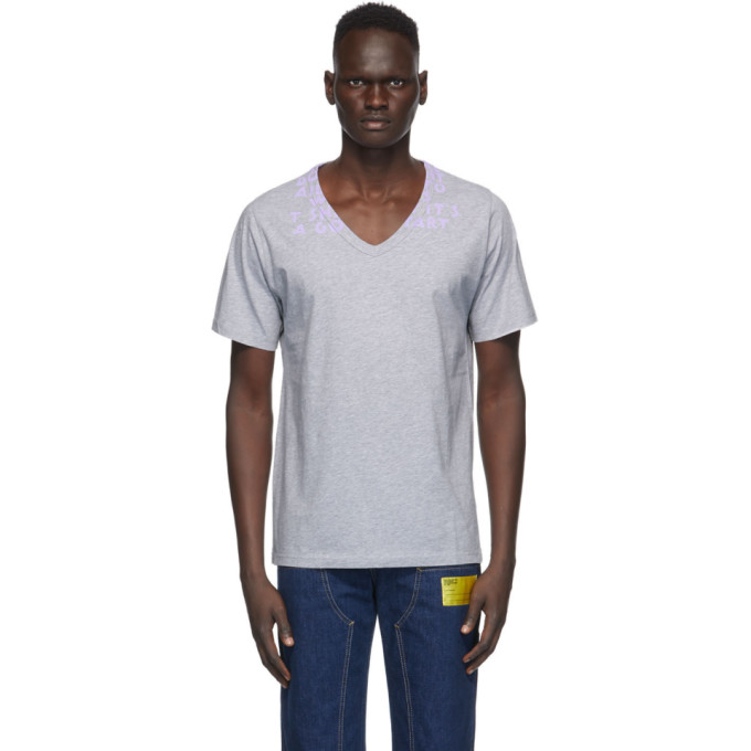 Maison Margiela Printed V-neck T-shirt In 972 Grylil