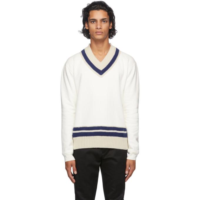 Maison Margiela Brushed V-neck Sweater In 101 Offwhi