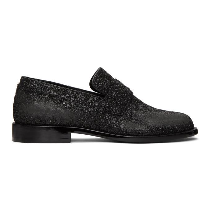 Maison Margiela Glitter Tabi Mocassin Loafers In T8013 Black