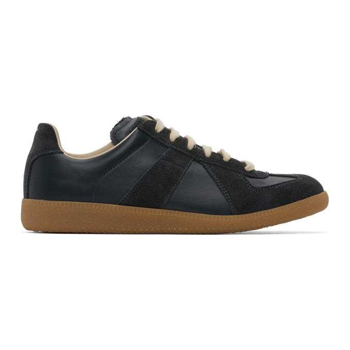 Maison Margiela Blue Navy And Black Replica Leather Sneakers In 900 Black