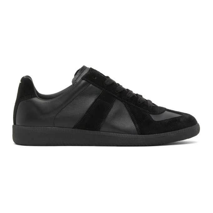 Maison Margiela Replica Sneakers In Black Leather And Suede In 900 Black