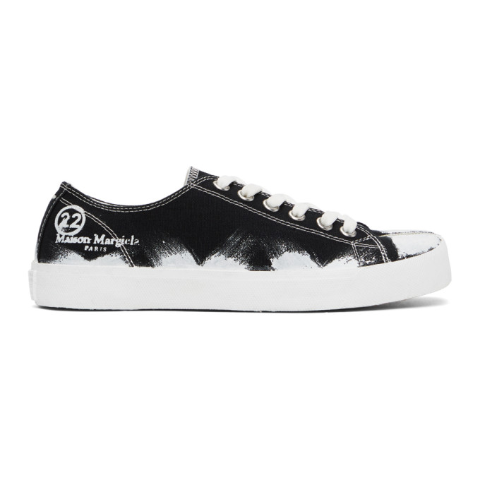 Maison Margiela Low Top Painted Canvas Tabi Sneakers In Black Base/