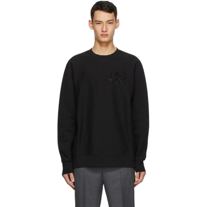 Moncler Genius 2 Moncler 1952 Black Fleece Logo Sweatshirt In 999 Black