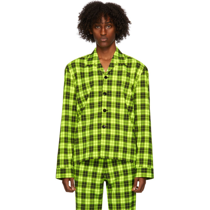 Sankuanz Green Plaid Shirt In Green Check