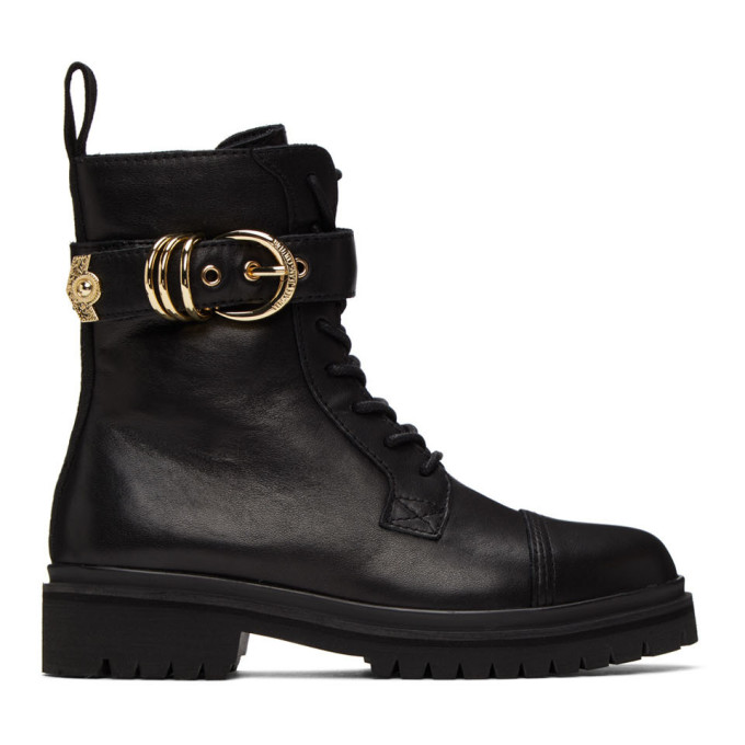 Versace Jeans Couture Buckle-detail 30mm Ankle Boots In E899 Black