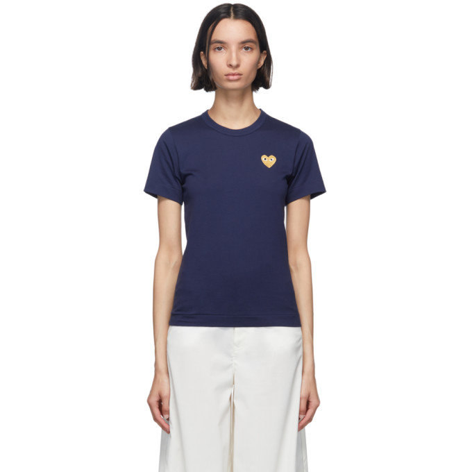 Comme Des Garçons Play Comme Des Garcons Play Navy And Gold Heart Patch T-shirt In 2 Navy
