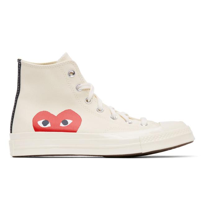 Comme Des Garçons Play Comme Des Gar Ons Play Women's P1k1122w White Cotton Hi Top Sneakers