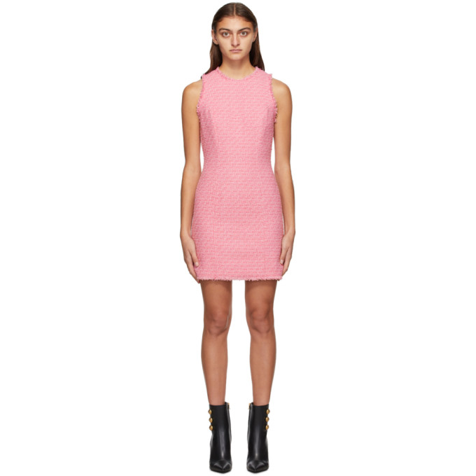 Balmain Frayed Cotton-blend Tweed Mini Dress In 4ka Pink