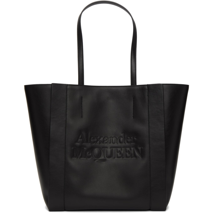 Alexander Mcqueen Signature Logo-embossed Leather Tote Bag In 1000 Black