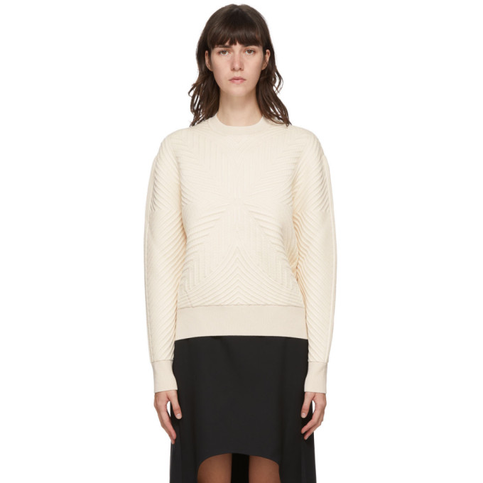 Alexander Mcqueen Wool Blend Cable Knit Crewneck Sweater In 9004 Ivory