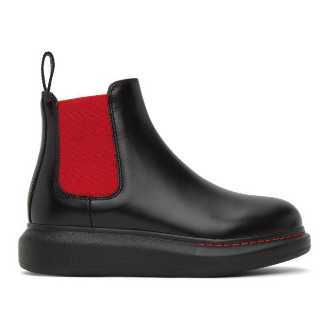 Alexander Mcqueen Hybrid Exaggerated-sole Leather Chelsea Boots In 1066 Bl/red