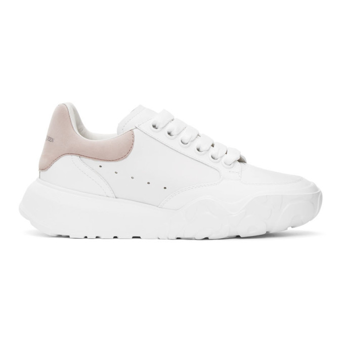 Alexander Mcqueen 45mm Court Trainer Leather Sneakers In White
