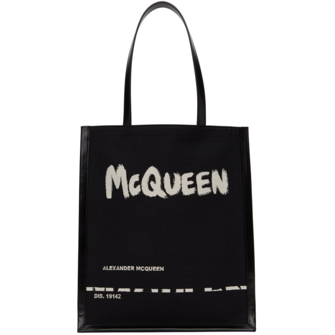 Alexander Mcqueen Logo Jacquard Canvas & Leather Tote Bag In 1073 Blkofw