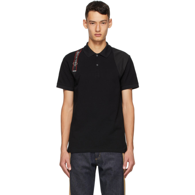 Alexander Mcqueen Men's Logo Tape Harness Polo Shirt In 1000 Black